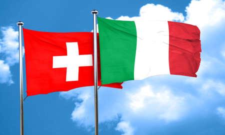 italian politics: switzerland flag with Italy flag, 3D rendering