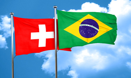 switzerland flag: switzerland flag with Brazil flag, 3D rendering
