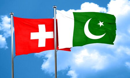 switzerland flag: switzerland flag with Pakistan flag, 3D rendering Stock Photo