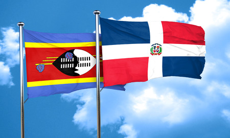 dominican: Swaziland flag with Dominican Republic flag, 3D rendering