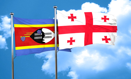 swaziland: Swaziland flag with Georgia flag, 3D rendering