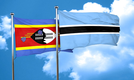 swaziland: Swaziland flag with Botswana flag, 3D rendering