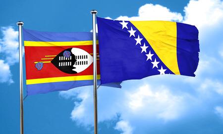 bosnia and herzegovina flag: Swaziland flag with Bosnia and Herzegovina flag, 3D rendering Stock Photo