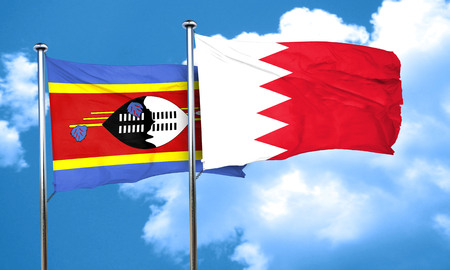 swaziland: Swaziland flag with Bahrain flag, 3D rendering