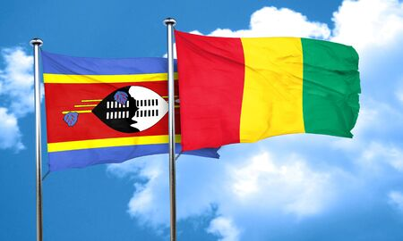 swaziland: Swaziland flag with Guinea flag, 3D rendering Stock Photo