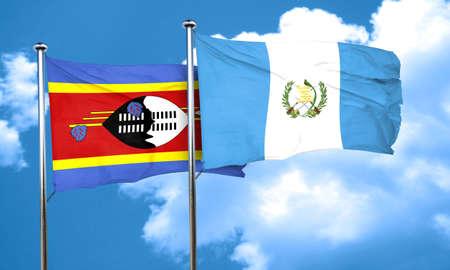 bandera de guatemala: Bandera de Swazilandia con bandera de Guatemala, 3D