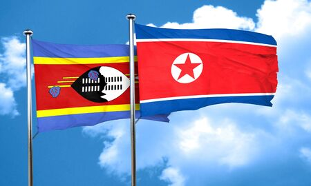 swaziland: Swaziland flag with North Korea flag, 3D rendering