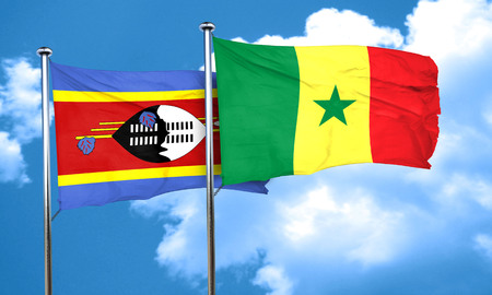 swaziland: Swaziland flag with Senegal flag, 3D rendering Stock Photo
