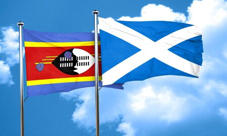 swaziland: Swaziland flag with Scotland flag, 3D rendering