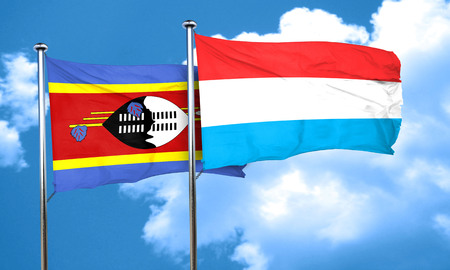 swaziland: Swaziland flag with Luxembourg flag, 3D rendering Stock Photo