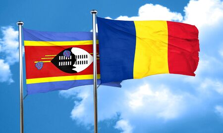 romania flag: Swaziland flag with Romania flag, 3D rendering