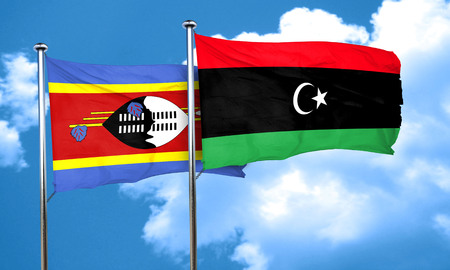 swaziland: Swaziland flag with Libya flag, 3D rendering