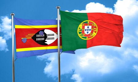drapeau portugal: Swaziland flag with Portugal flag, 3D rendering Banque d'images