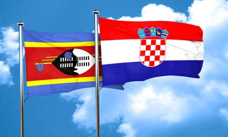 bandera croacia: Bandera de Swazilandia con bandera de Croacia, 3D Foto de archivo