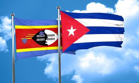 bandera cuba: Bandera de Swazilandia con bandera de Cuba, 3D