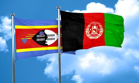 afghan: Swaziland flag with afghanistan flag, 3D rendering