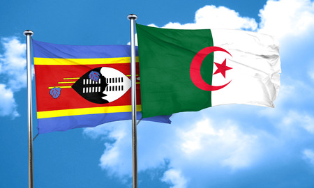 swaziland: Swaziland flag with Algeria flag, 3D rendering Stock Photo