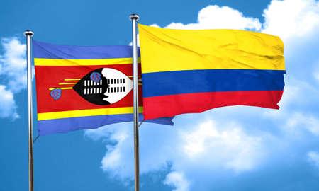 bandera de colombia: Bandera de Swazilandia con bandera de Colombia, 3D Foto de archivo