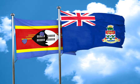 cayman: Swaziland flag with Cayman islands flag, 3D rendering