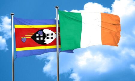 swaziland: Swaziland flag with Ireland flag, 3D rendering Stock Photo