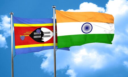 swaziland: Swaziland flag with India flag, 3D rendering Stock Photo