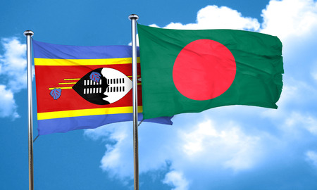 swaziland: Swaziland flag with Bangladesh flag, 3D rendering
