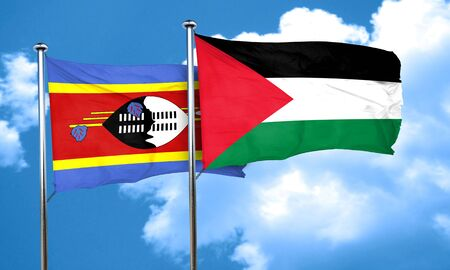 palestine: Swaziland flag with Palestine flag, 3D rendering Stock Photo