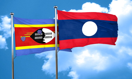 swaziland: Swaziland flag with Laos flag, 3D rendering Stock Photo