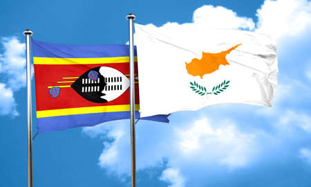 swaziland: Swaziland flag with Cyprus flag, 3D rendering