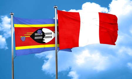 bandera peru: Bandera de Swazilandia con bandera de Per�, 3D
