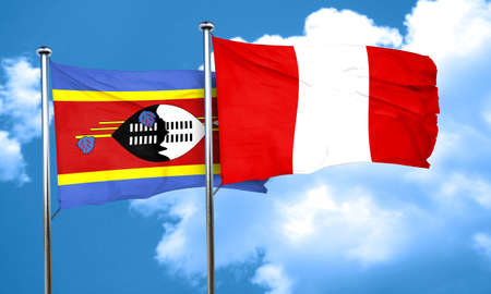 swaziland: Swaziland flag with Peru flag, 3D rendering