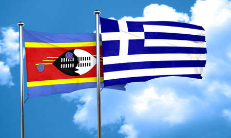 greece flag: Swaziland flag with Greece flag, 3D rendering
