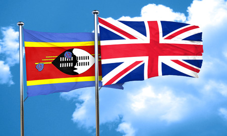 britain flag: Swaziland flag with Great Britain flag, 3D rendering
