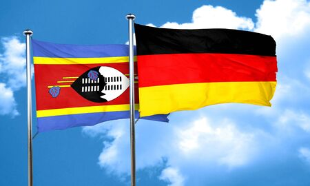 swaziland: Swaziland flag with Germany flag, 3D rendering