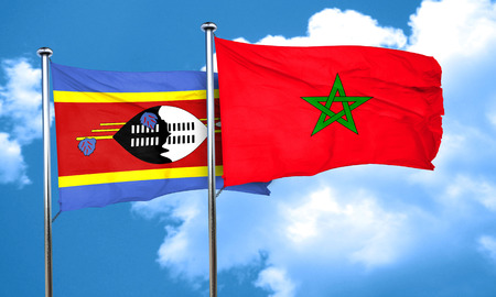swaziland: Swaziland flag with Morocco flag, 3D rendering