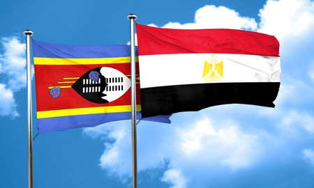 egypt flag: Swaziland flag with egypt flag, 3D rendering