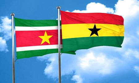 suriname: Suriname flag with Ghana flag, 3D rendering