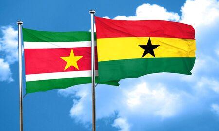 vlag van Suriname met Ghana vlag, 3D-rendering