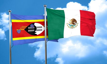 swaziland: Swaziland flag with Mexico flag, 3D rendering