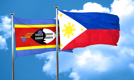 philippino: Swaziland flag with Philippines flag, 3D rendering