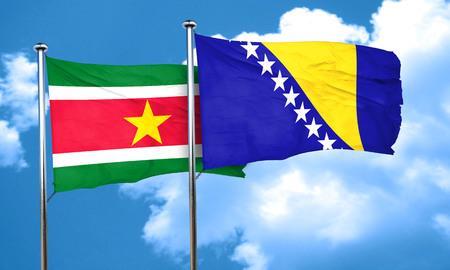 bosnia and  herzegovina: Suriname flag with Bosnia and Herzegovina flag, 3D rendering