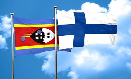 swaziland: Swaziland flag with Finland flag, 3D rendering Stock Photo