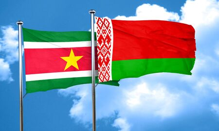 suriname: Suriname flag with Belarus flag, 3D rendering