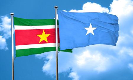 somalia: Suriname flag with Somalia flag, 3D rendering Stock Photo