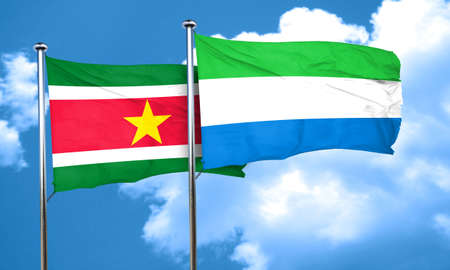 suriname: Suriname flag with Sierra Leone flag, 3D rendering Stock Photo
