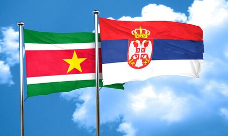 suriname: Suriname flag with Serbia flag, 3D rendering