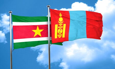 suriname: Suriname flag with Mongolia flag, 3D rendering