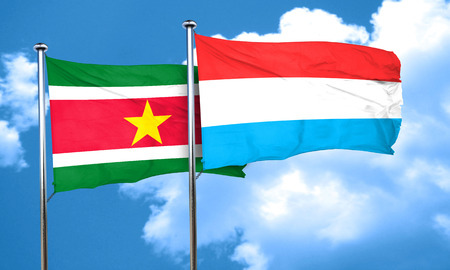 suriname: Suriname flag with Luxembourg flag, 3D rendering