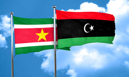 suriname: Suriname flag with Libya flag, 3D rendering