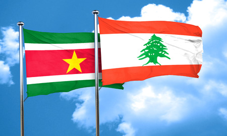 suriname: Suriname flag with Lebanon flag, 3D rendering